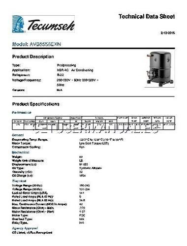 compresor reciprocante 5t r22 208-230v 1f. tecumseh piston