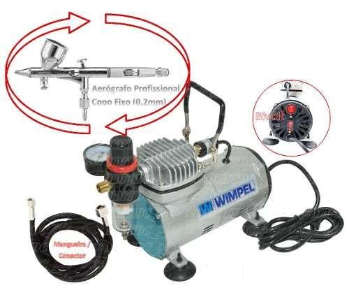 compressor + aerógrafo 0,2mm + filtro/ manômetro + mangueira