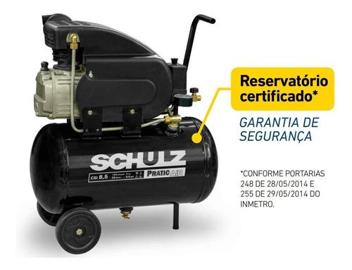 compressor ar 8,5pés plus csi 25l schulz + kit acessórios