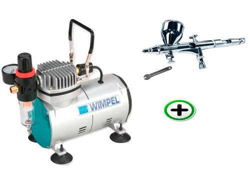 compressor c/ filtro + aerógrafo 0,2mm dupla ação mangueira
