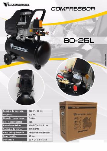 compressor de ar 2hp 220v 25 litros compbrasil usk