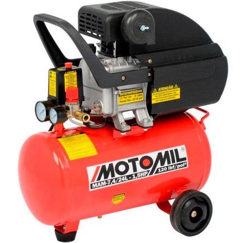compressor de ar 7,4 pés 1,5 hp 24 litros motomil 110v