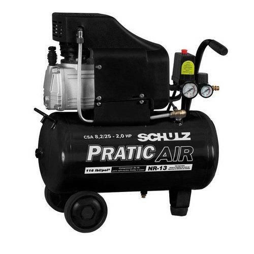 compressor de ar 8,2pés 2hp 25 litros pratic air schulz 220v