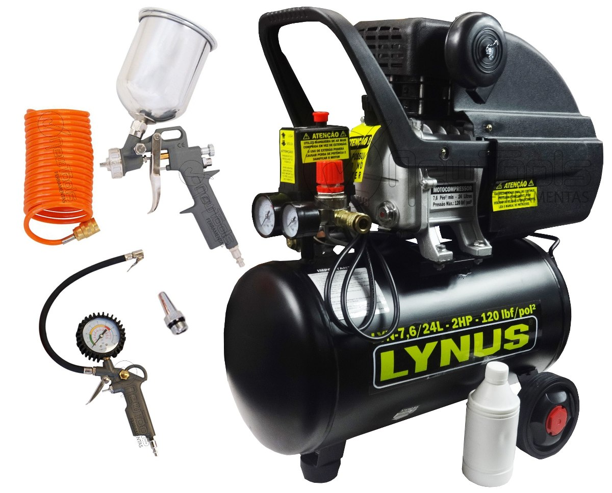 Compressor pistola pintura kit 7 6 p s 24litros 220v - Pistola pintura compresor ...