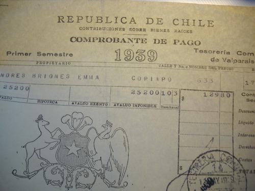 comprobante de pago, contribuciones bienes raices, 1939.