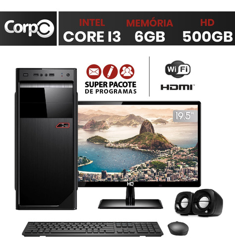 computador corpc intel core i3 6gb hd 500gb monitor 19.5