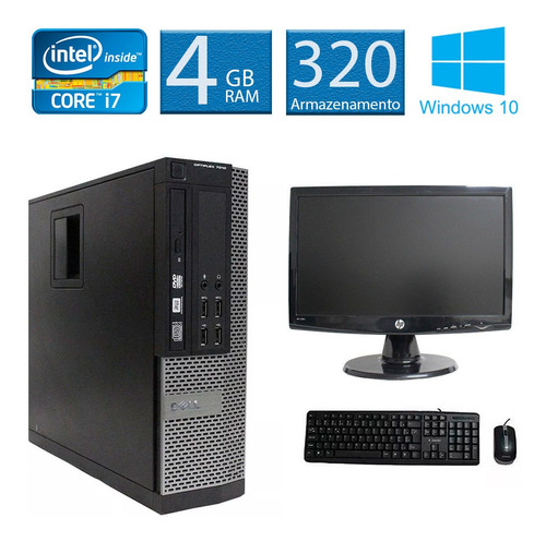 computador  dell 7010 i7 4gb 320gb monitor 18 polegadas