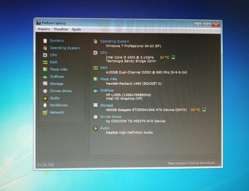 computador desktop hp elite 8200 core i5 + 500gb + 4gb + w7