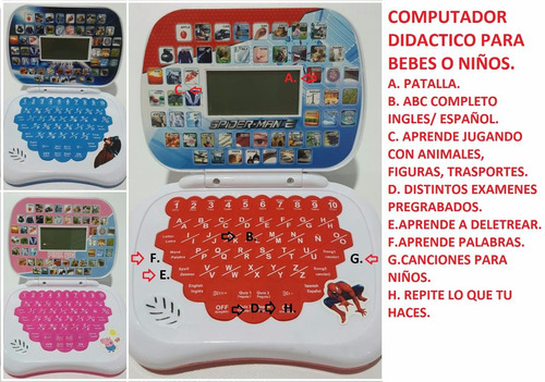 computador didactico bebe niño o niña disney abecedario nume
