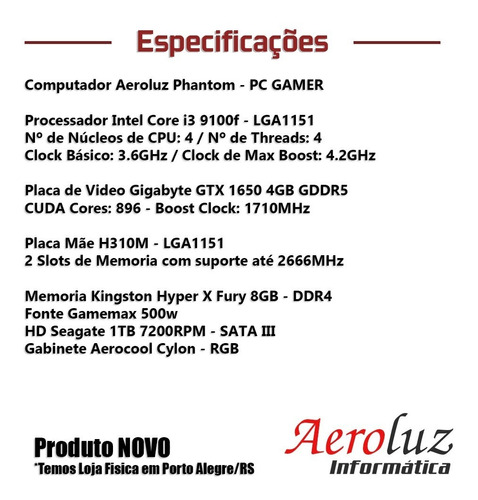 computador gamer core i3 9100f + gtx1650 4gb + hd 1tb + nf