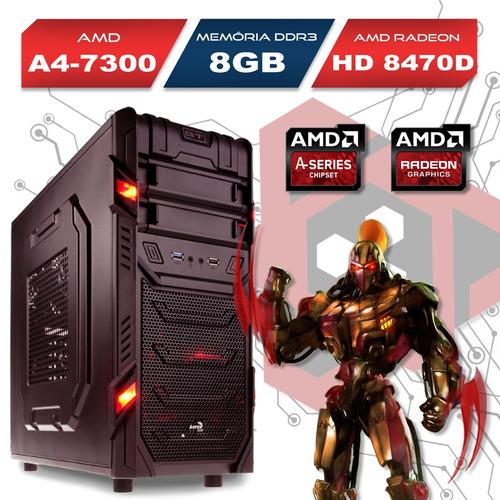 computador gamer gt amd a4 7300 8gb ram, hd8470d 500gb, wifi