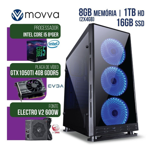 computador gamer intel core i5 2.8ghz 8ª ger. mem 8gb hd500