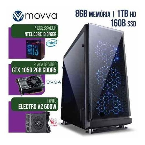 computador gamer mvx3 i3 8100 3.6ghz hd1tb ssd16gb gtx1050