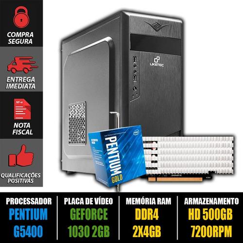 computador gamer pentium g5400 + gt 1030 2gb + 8gb ddr4 + nf