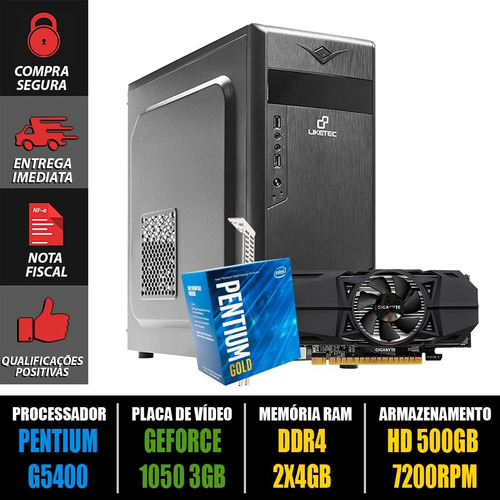 computador gamer pentium g5400 + gtx 1050 3gb + 8gb ddr4+ nf
