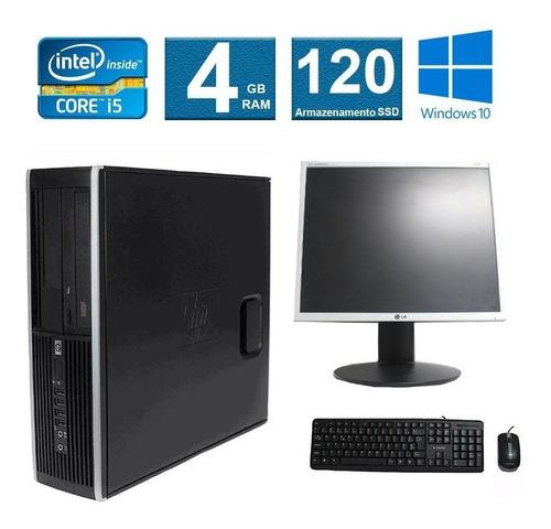 computador hp elite 8200 i5 4gb 120ssd monitor 19 polegadas