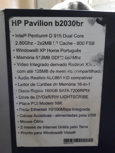 computador hp pavilion b2030br