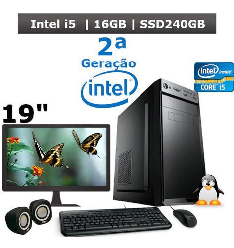 computador i5 2400 16gb hd ssd240gb + kit + monitor 19 + nf