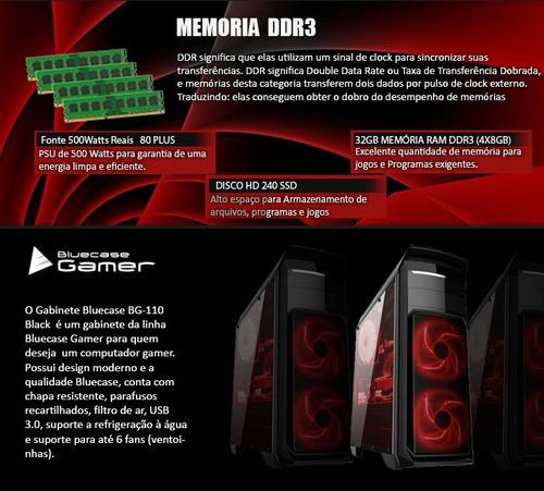 computador i7 4770, placa asus h87, 32gb ram, ssd 240gb + nf
