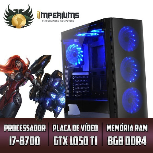 computador imperiums i7 8700, gtx 1050ti 4gb, 8gb, hd 1tb