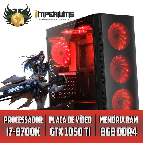 computador imperiums i7-8700k, gtx 1050ti 4gb, 8gb, hd 1tb