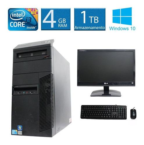 computador lenovo thinkcenter m90 i3 4gb 1tb monitor 19