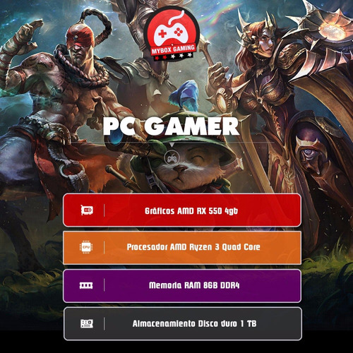 computador pc gamer ryzen 1200 quad core 8gb ram 1tb
