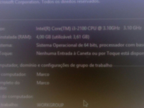 computador : processador i3 : 4 gb de memoria 500 gb de hd
