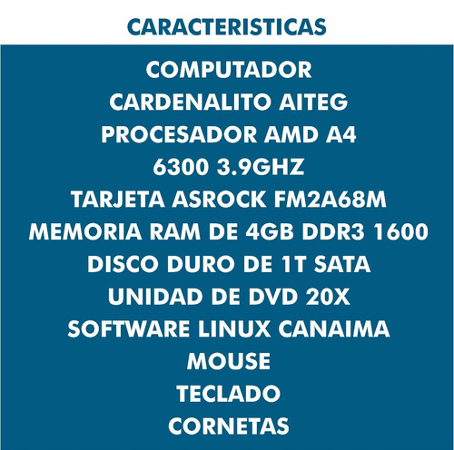 computadora cardenalito amd 6300 1tdd monitor teclado mouse