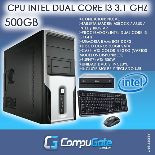 computadora cpu intel core i3 8gb ram 500gb teclado mouse