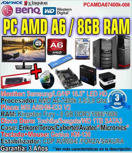 computadora gamer a6 pc completa amd a6-7400k 8gb 1tb dota