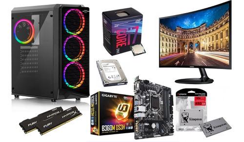 computadora gamer i7-8700, 3.2ghz 16gb ddr4  disco ssd 480gb