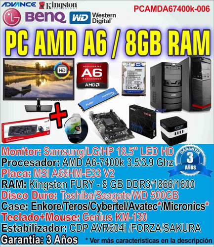 computadora gamer pc completa amd a6-7400k 8gb 500gb dota +