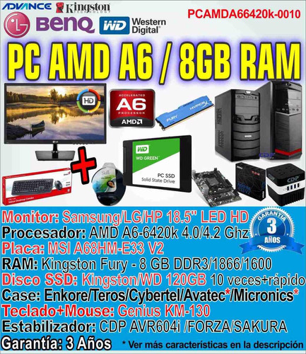 computadora pc completa amd a6-6420k 8gb 120gb ssd gamer +
