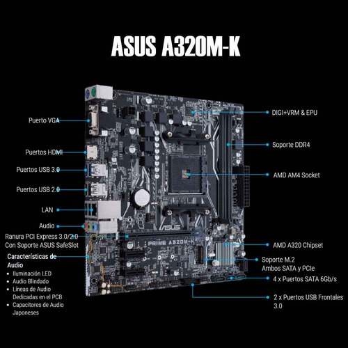computadora pc gamer acteck ryzen 3 2200g 1tb 8gb ddr4 hdmi
