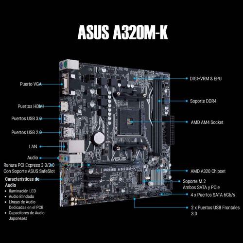 computadora pc gamer cpu amd ryzen 5 2400g 1tb 8gb 80+
