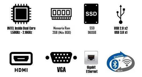 computadora pc mini intel dual core ssd 960gb 2gb hdmi w10