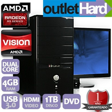 computadora pc nueva radeon r5 a6 7400k 4gb 1tb outlethard