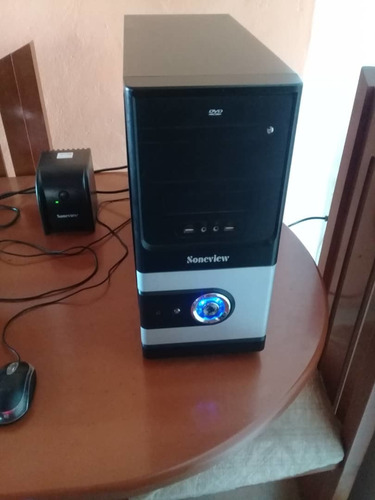 computadora soneview con regulador, impresora hp y mesa