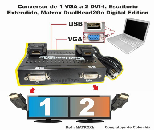 computoys17 conecte hasta 2 monitores dualhead2go zmatroxb