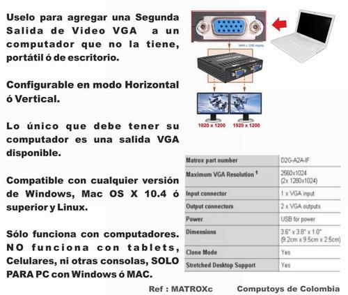 computoys17 dualhead2go analog edition 2 monitores zmatroxc