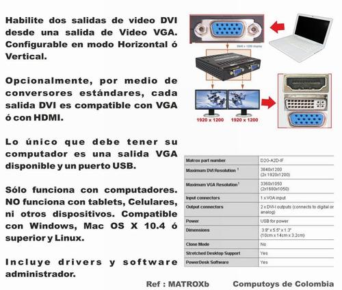 computoys17 dualhead2go digital edition 2 monitores zmatroxb
