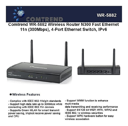 comtrend wr-5882 wless router n300 fast ethernet 300 mbps 4