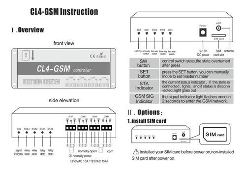 comutador swich gsm cl4-gsm - 4 relés automação a distância