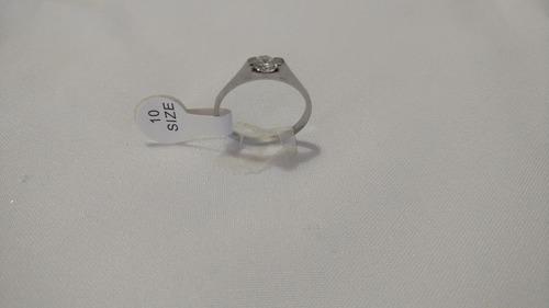 con zirconia anillo acero