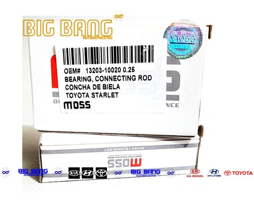 concha de biela toyota starlet std 0.10 0.20 0.30 0.40