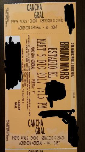 concierto bruno mars (2 boletas)