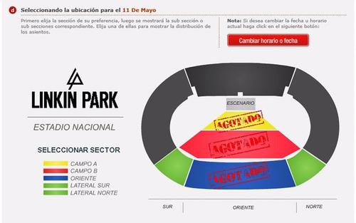 concierto entradas linkin park en lima! - campo b 400 soles