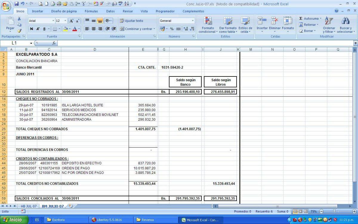 Conciliación Bancaria Plantilla De Excel, Automatizada - Bs ...