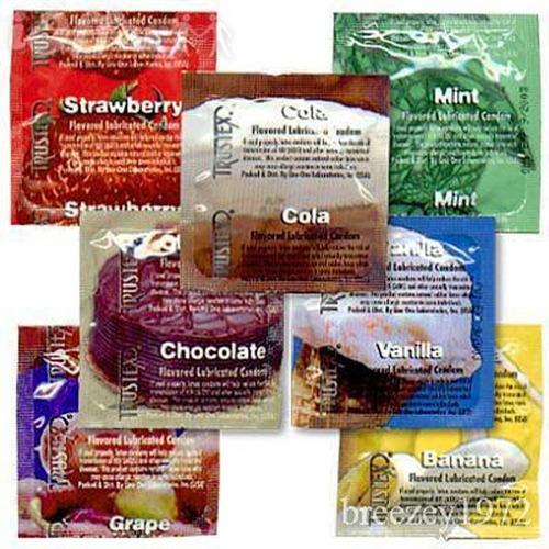 condones de sabor aroma y color marca trustex 100 piezas igt